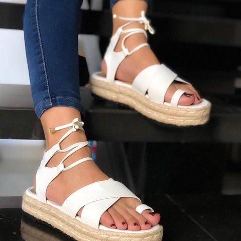 Women Toe Ring Lace-up Platform Sandals