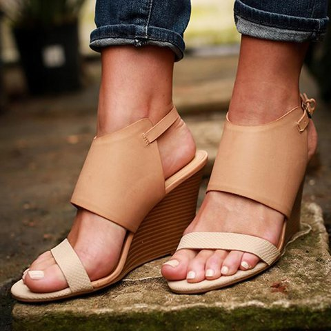Women Comfy Wedge Sandals Buckle Shoes