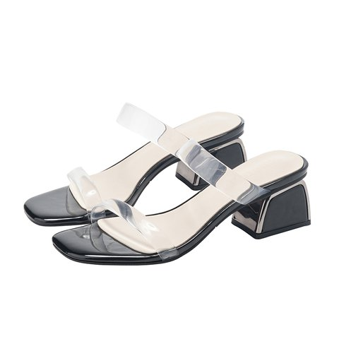 Chic Pvc Open Toe Chunky Heel Daily Slippers