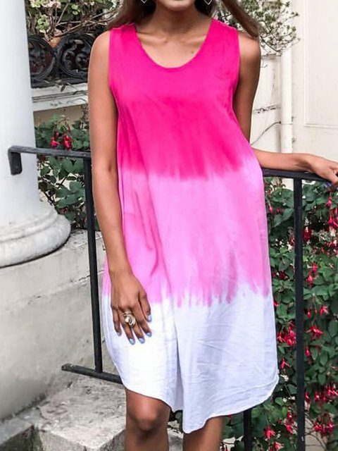 Plus Size Dip-dye Sleeveless Curved Printed Midi Dresses