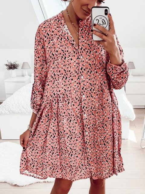 Plus Size Caftan Buttoned Round Neck Printed Summer Dresses