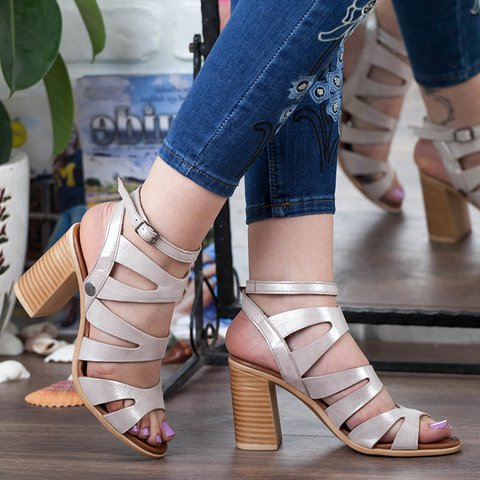 Women Cut Out Chunky Heel Ankle Strap Sandals