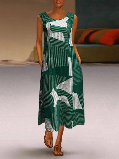Geometric Casual Sleeveless Maxi Dresses