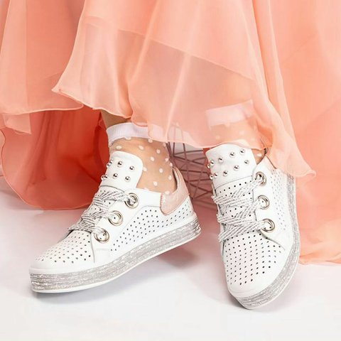Women Round Toe Casual Hollow-Out Pu Flat Heel Sneakers