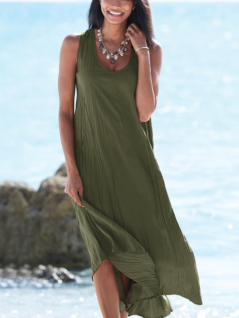 Army Green Boho Sleeveless Solid Dresses