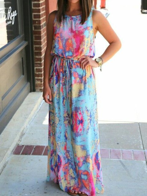 Crew Neck Women Dresses Going Out Printed Ombre/tie-Dye Dresses