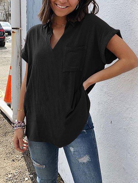 Short Sleeve Pockets Plus Size Shirts