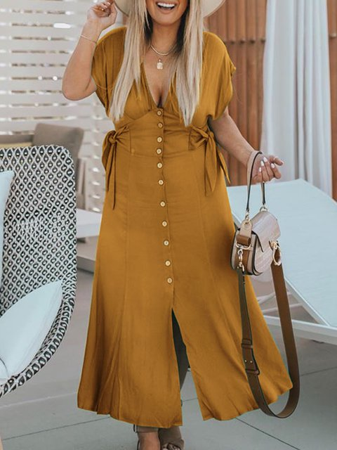 V Neck Women Dresses Going Out Casual Bow Dresses