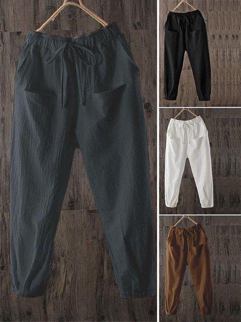 Plus Size Linen Women Capri Pants With Pockets