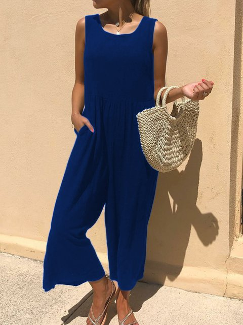 Solid Casual Round Neck Jumpsuits