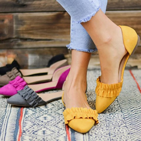 Women Flat Heel Ruffles Slip On Casual Loafers