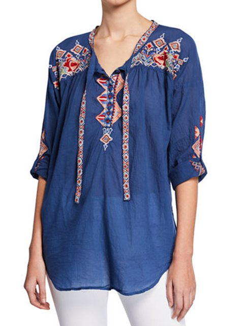 Women's Embroidered Tie-Front Casual Cotton Blouse