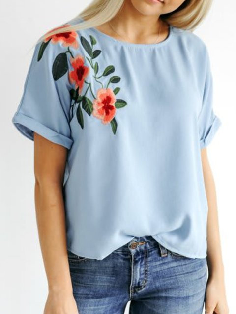 Embroidered Floral Tops Women's Casual Short Sleeve T-Shirts