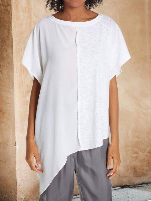 Plus Size Paneled Batwing Asymmetrical Casual T-Shirts