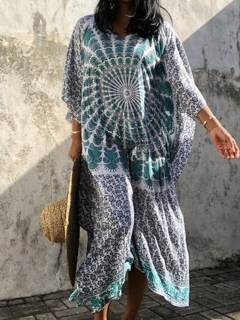 Oriental kaftan dress,Maxi dress,women's,Beach dress ,evening dress, hand print,sexy,elegant,big size,caftan,Oversized