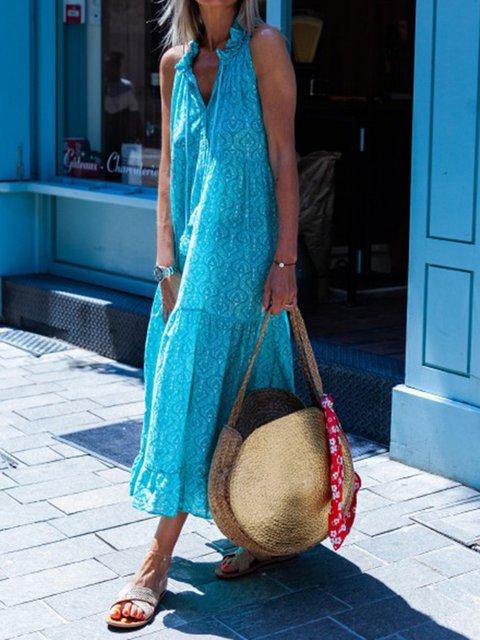 V Neck Kaftan Tribal Blue Date Casual Cotton-Blend Dresses