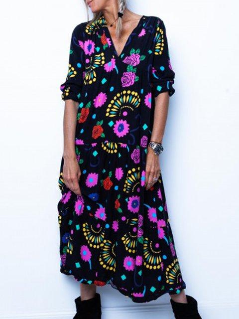 Printed Floral V Neck Black Holiday Holiday Plus Size Dresses
