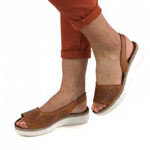 Slip-On Elastic Band Hollow-out Wedge Sandals