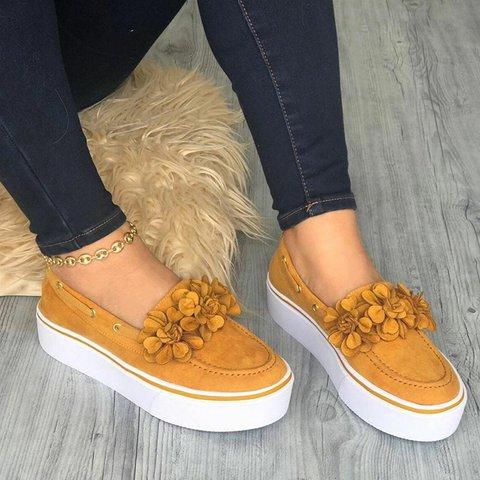 Women's Simple Style Flower Slip On Loafers