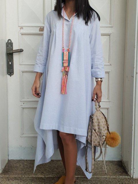 Shirt Collar Women Asymmetric Going Out Stripes Dresses