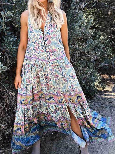 335f7da34e Justfashionnow Party Dresses Sundress Caftan Going Out V Neck Printed  Sleeveless Holiday Dresses