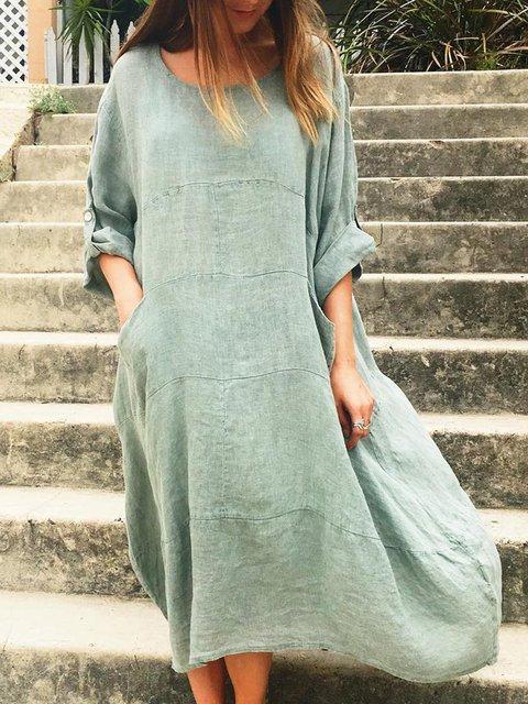 Plus Size Linen Solid Looses Women Midi Dresses