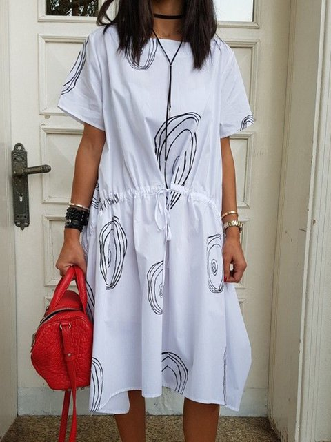 Crew Neck Paneled Going Out Cotton Graphic Dresses