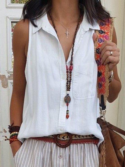 Shirt Collar Pockets Sleeveless Solid Tops