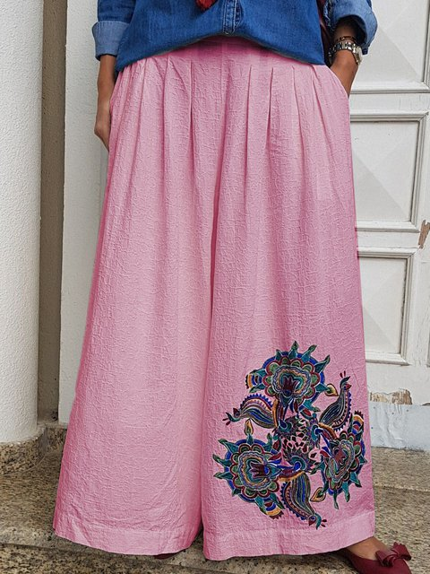 Tribal Holiday Embroidered Linen Vintage Pants