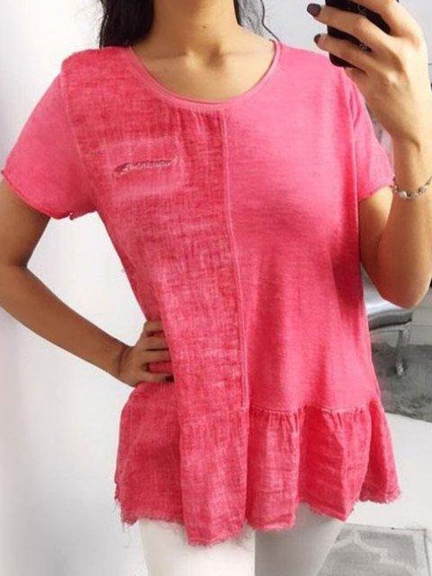 Solid Linen Short Sleeve Blouses
