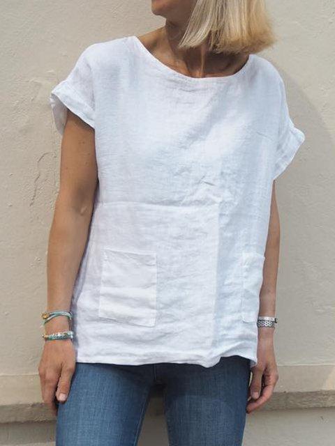 Plus Size Pure Color Linen Women Summer T-shirts