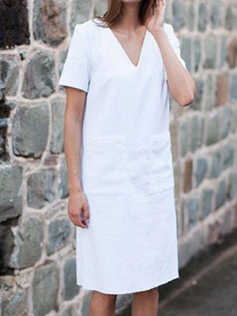 V Neck Women Summer Dresses Daily Linen Solid Dresses