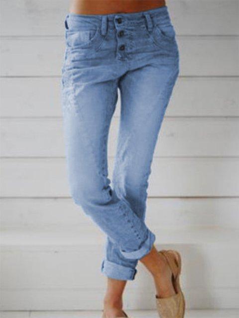 Women Pockets Cotton-Blend Plus Size Pants