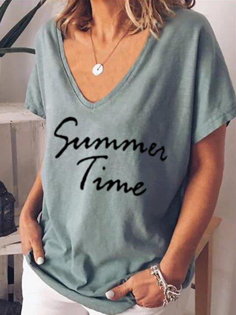 V Neck Short Sleeve Printed Shirts & Tops
