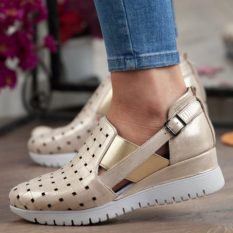 Women Round Toe Hollow-out Wedges Buckle Strap Sneakers