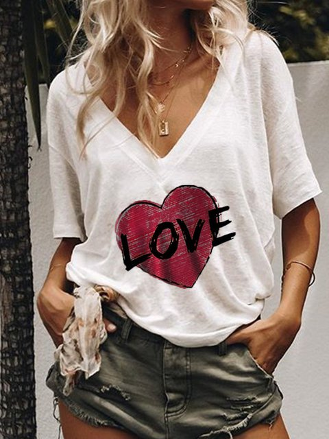 Casual V Neck Short Sleeve Cotton T-Shirts