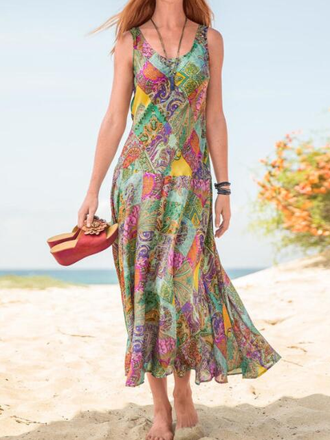 Sleeveless Printed Holiday Dresses