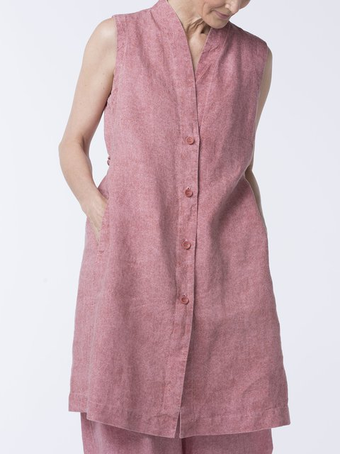 f6ad519fe Plus Size Solid Tunic Summer Casual Sleeveless Stand Collar Blouses -  JustFashionNow.com