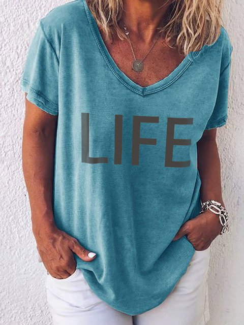 Casual Short Sleeve Cotton V Neck T-Shirts