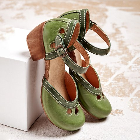 Women Comfy Buckle Strap Pumps Low Heel Sandals