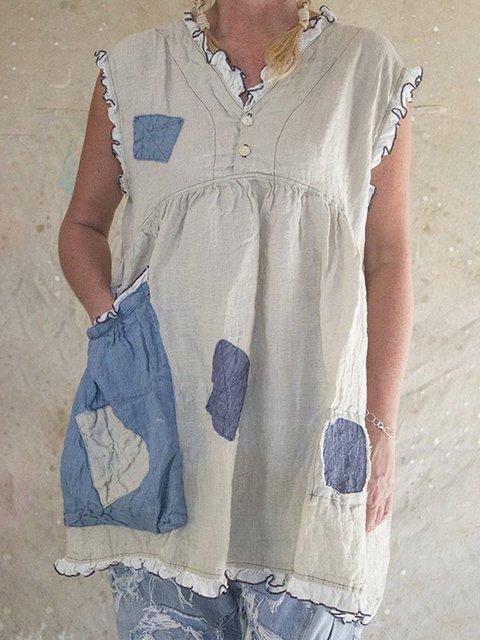 Paneled Sleeveless Pockets Casual Solid Tops