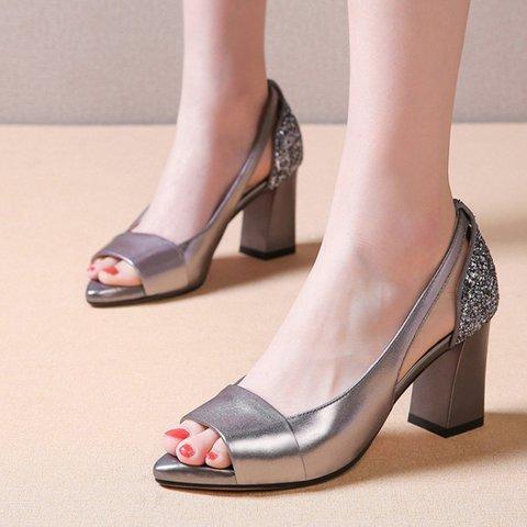 Sandals Women Genuine LeatherDaily Chunky Heel Pumps Peep Toe Shoes