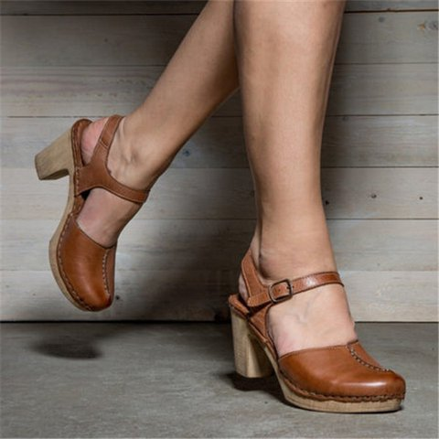 Women Chunky Heel Buckle Sandals