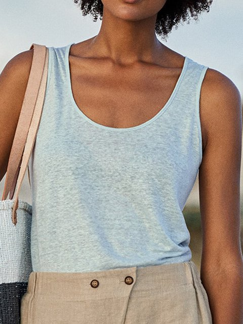 Sleeveless Solid Cotton Summer Holiday Tank
