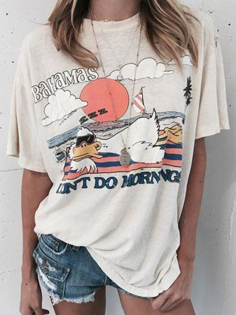 Plus Size Cute Pattern Batwing Casual T-Shirts