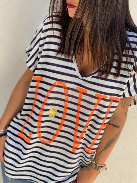 Plus Size Striped Tops Letter Print V-Neck Casual T-Shirts