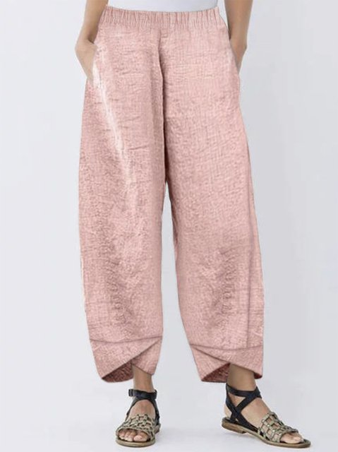 Summer Casual Pants Pockets Linen Solid Pants