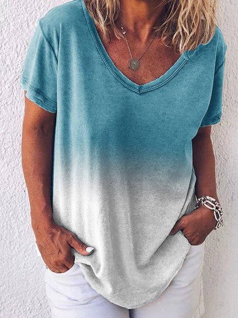 Cotton Short Sleeve Dip-Dyed T-Shirts