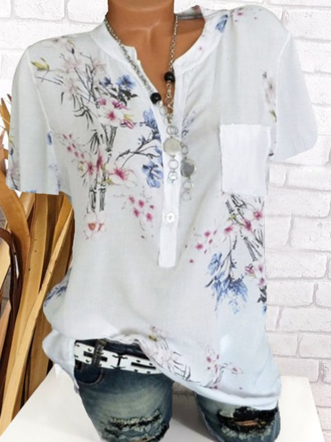 Plus Size Floral Print Stand-Up Neck Women Summer Blouses