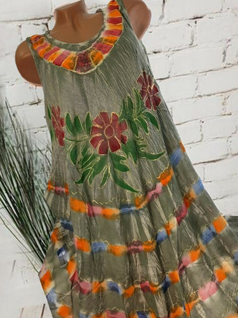 Plus Size Floral Print Women Summer Midi Dresses